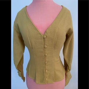 Light gold button up top with Vneck and pleating